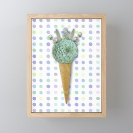 SUCCULENT CACTUS ICE CREAM Framed Mini Art Print