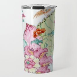 Damask antique floral porcelain china chinoiserie plate of flowers and crane bird vintage photo Travel Mug