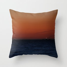 Lonely lighthouse at Dungeness Spit, WA Throw Pillow