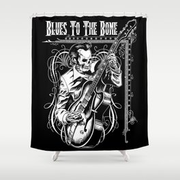 Blues to the Bone Rockabilly Shower Curtain