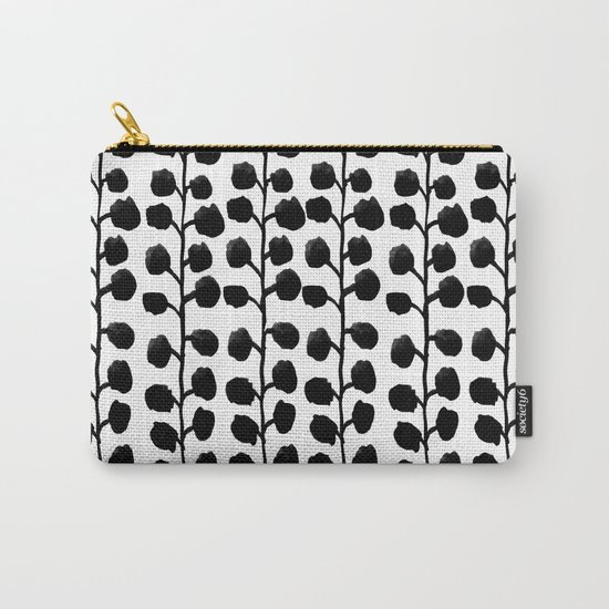 Black and white minimal modern petals leaves bloom spring summer monochromatic urban dorm decor Carry-All Pouch
