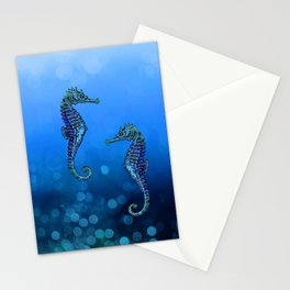 Sea Horse Couple In Deep Blue Water Stationery Cards