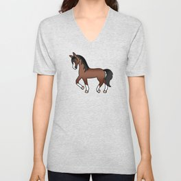 Brown Trotting Horse Cute Cartoon Illustration Unisex V-Neck