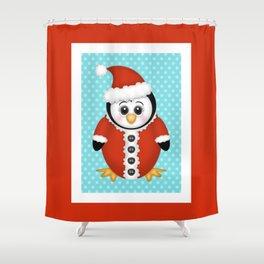 Santa Penguin Shower Curtain