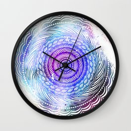 Modern Mandala Spiral Galaxy Space Textured Multi Colored / Purple Pink Orange Gray Black Wall Clock