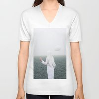 alone V-neck T-shirts featuring Alone by Jovana Rikalo