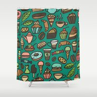 macaroon Shower Curtains featuring Coffee and pastry  by Julia Badeeva