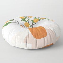 Orange Branches Floor Pillow