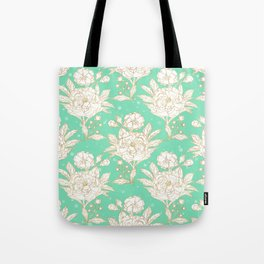 stylish golden and mint floral strokes design Tote Bag