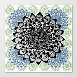 Light Green, Grey, and Black Muted Mandala Pattern Canvas Print