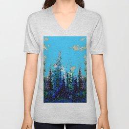 Scenic Blue-Purple Mountain Trees Landscape Unisex V-Neck