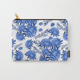 Blue Dahlia & Dots Carry-All Pouch