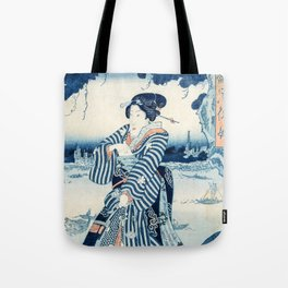 Geisha on the Bank of the Sumida River  - Vintage Japanese Art Print Tote Bag