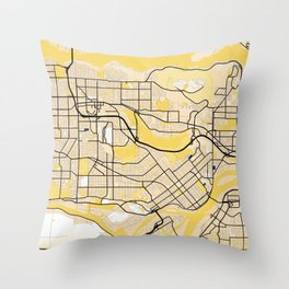 Burnaby Yellow City Map Throw Pillow