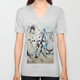 Snow Leopards Watercolor (Color) Unisex V-Neck