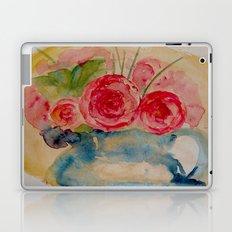 Flowers in a blue vase Laptop & iPad Skin