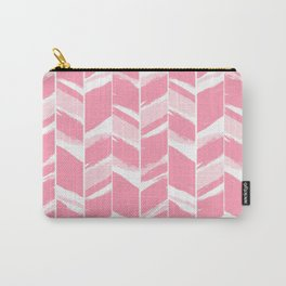 Modern abstract pink geometric brushstrokes chevron pattern Carry-All Pouch