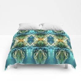 Yellow Green Blue Ice Sculptures Pattern Comforters