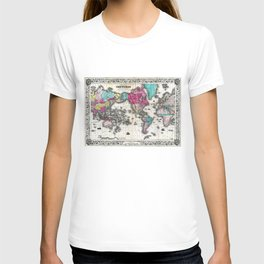 Vintage Map of The World (1852) - Stylized T-shirt