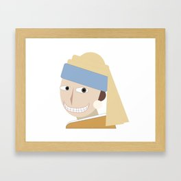 Smiling Girl with a Pearl Earring Framed Art Print