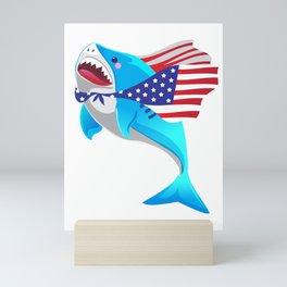 america shark 4th of july Mini Art Print
