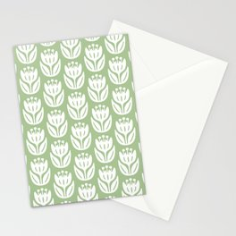 Mid Century Modern Flower Pattern Nile Green 333 Stationery Cards