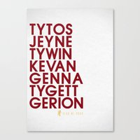 lannister Canvas Prints featuring House Lannister 2 Typography series II by P3RF3KT