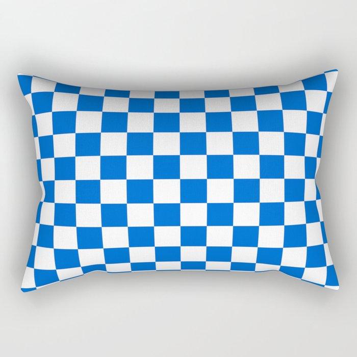 Gingham Brilliant Blue Checked Pattern Rectangular Pillow