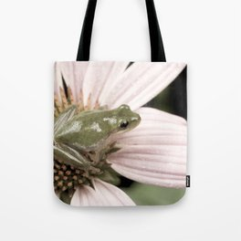 Treefrog on flower Tote Bag