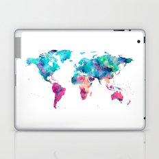World Map Turquoise Pink Blue Green Laptop & iPad Skin