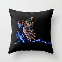 tinker bell Throw Pillows featuring Tinker Bell - My Glowing Love for You by Chien-Yu Peng