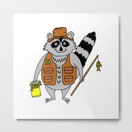 Fisherman Raccoon Metal Print
