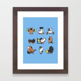 Leg Day with French Bulldog Framed Art Print