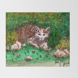 Cat in Flower Garden Throw Blanket
