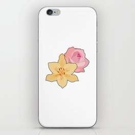 Pink Rose & Day Lily iPhone Skin