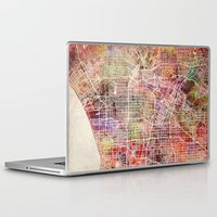 los angeles Laptop & iPad Skins featuring Los angeles by MapMapMaps.Watercolors