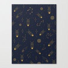 Golden Fireflies Constellations Canvas Print