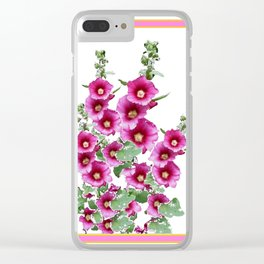 Fuchsia Pink Holly Hocks Grey Vinette Clear iPhone Case
