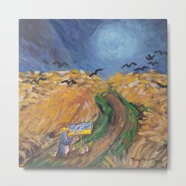 Penguin Van Gogh painting crows in golden field Metal Print