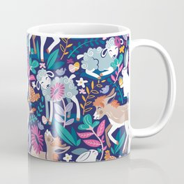 Spring Joy // navy blue background pale blue lambs and brown taupe donkeys blue mint and pink garden Coffee Mug