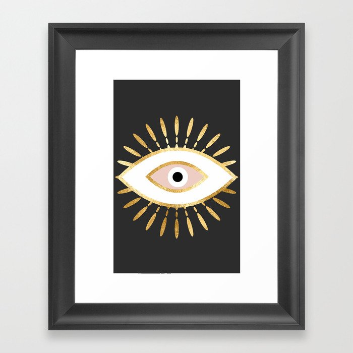 gold foil evil eye in blush Gerahmter Kunstdruck