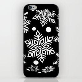 Snow Flakes Christmas Bauble - White on Black iPhone Skin
