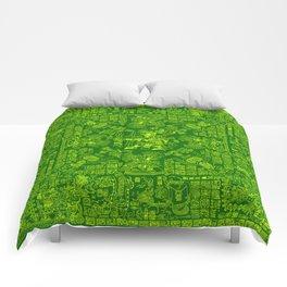 Mayan Spring GREEN / Ancient Mayan hieroglyphics mandala pattern Comforters
