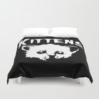 goth Duvet Covers featuring Goth Kittens by Ludwig Van Bacon