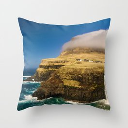 The Island Waterfall (Color) Throw Pillow