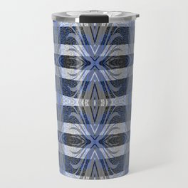 Feathery Indigo Antiqued Boho Geometric Print Travel Mug