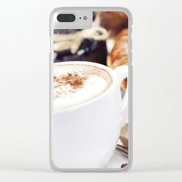 Breakfast with coffee, croissants and jam Clear iPhone Case