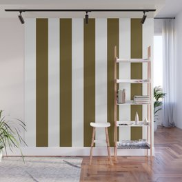 Field drab green - solid color - white vertical lines pattern Wall Mural