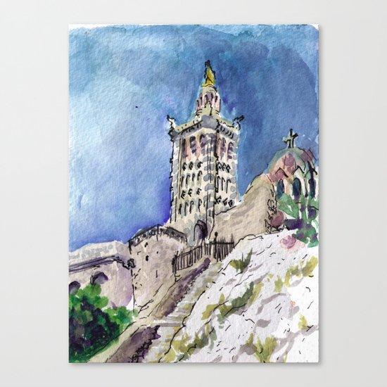 Notre-Dame de la Garde, Marseille sketch Canvas Print