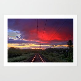 Northern sunset and a railway Art Print